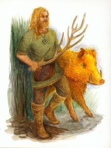 Frej med gris och hjorthorn