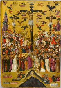 Andreas Pavias Icon of the Crucifixion, second half of 15th century egg tempera and gold on wood overall: 83.5 × 59 cm (32 7/8 × 23 1/4 in.) National Gallery, Alexandros Soutzos Museum, Athens