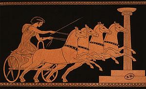 Hästkapplöpning i det gamla Grekland.