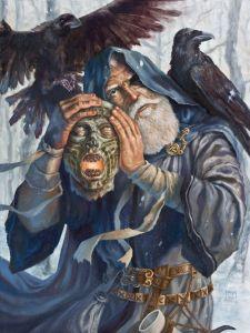 Odin listen's to Mimir's dead head